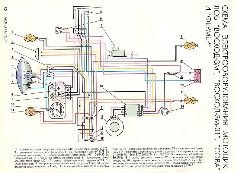 Схема электропроводки мотоцикла восход 3м