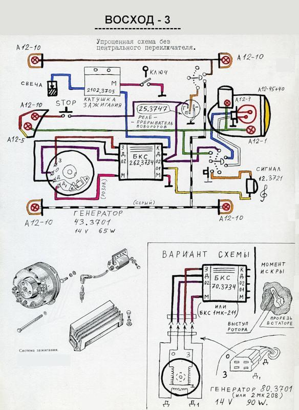 Схема мотоцикла Восход 3.